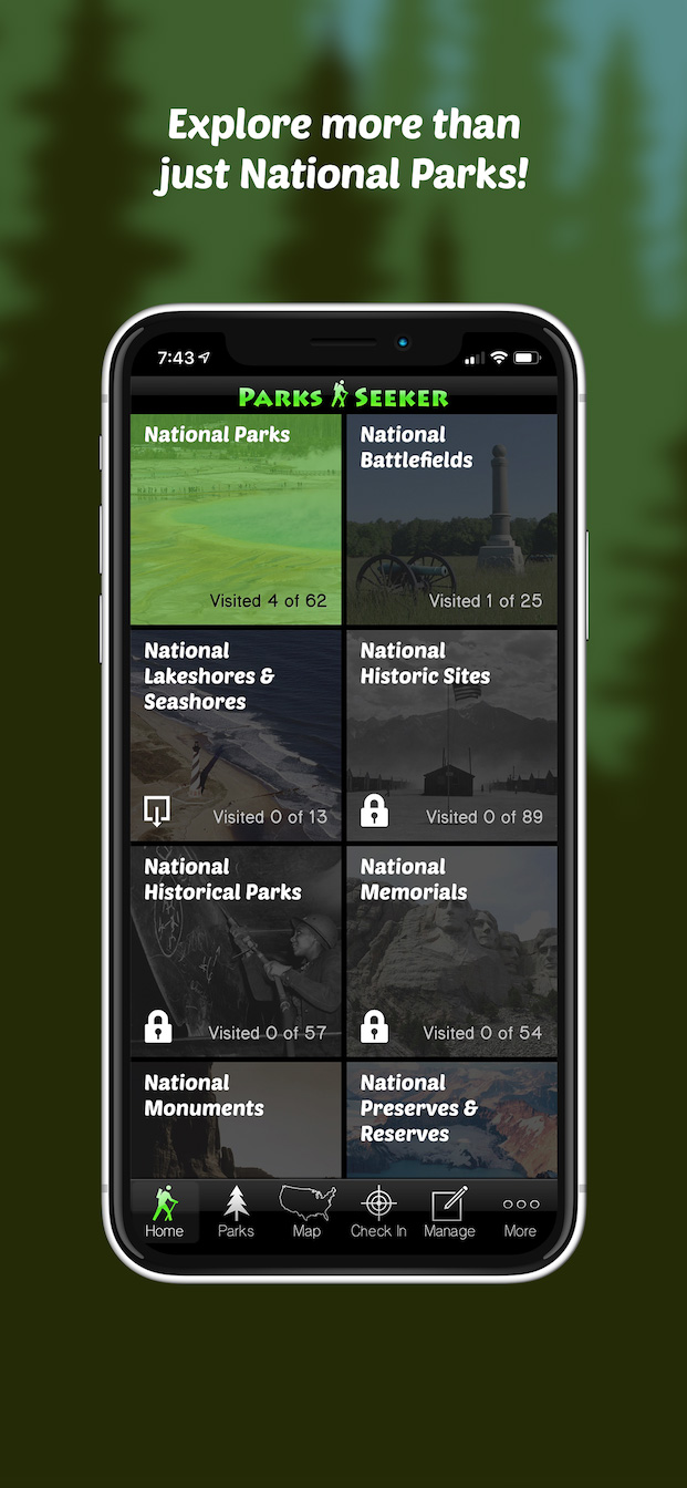 App screenshot: Parks tab